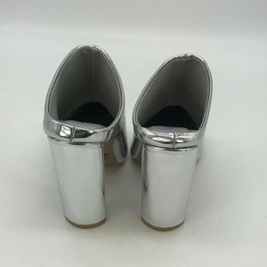 Qupid Shoes - Qupid Silver Pointed Toe Mule Booties Size 6